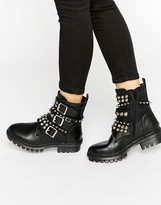 Aldo Stud And Buckle Leather Boots