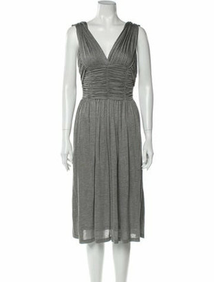 Burberry V-Neck Midi Length Dress w/ Tags Grey