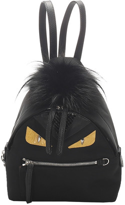 Fendi Black Leather Mini Monster Backpack