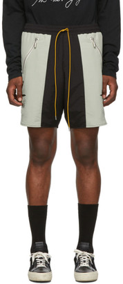Rhude SSENSE Exclusive Black and Green Soho House Edition Nylon Shorts