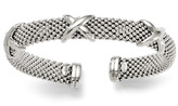 """Zales 11.0mm """"X"""" Station Mesh Cuff in Sterling Silver - 7.5"""""""