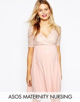 ASOS Maternity - Nursing ASOS Maternity NURSING Midi Dress with Lace Wrap Front