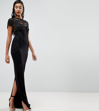 ASOS TALL Lace Maxi Dress with Fringing