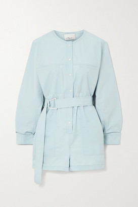 3.1 Phillip Lim Belted Cotton-blend Poplin Playsuit - Sky blue