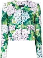 Dolce & Gabbana hydrangea-print cropped jacket - women - Silk/Cotton/Polyester/Viscose - 42