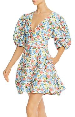 AMUR Avian Puff-Sleeve Floral Fit and Flare Dress