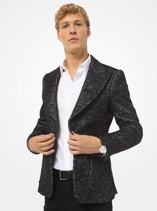 Michael Kors Metallic Herringbone Wool-Blend Blazer
