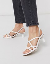 Who What Wear Perla strappy mid heeled sandals in cream