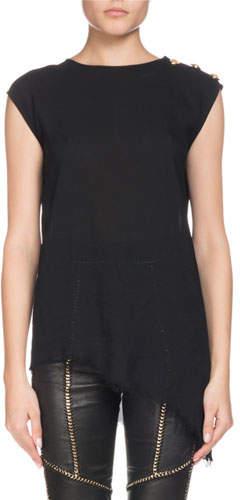 Balmain Sleeveless Asymmetric Three-Button Shoulder Silk Top