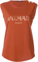 Balmain logo printed top - women - Cotton - 36