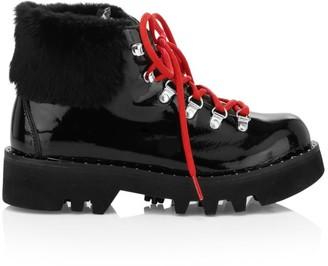 Montelliana 1965 Anabel Rabbit Fur-Trim Lamb Fur-Lined Patent Leather Hiking Boots