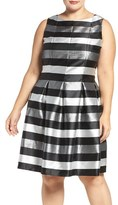 Chetta B Plus Size Women's Metallic Stripe Fit & Flare Dress