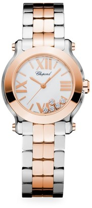 Chopard Happy Sport Mini New Generation 18K Rose Gold, Stainless Steel & Diamond Bracelet Watch