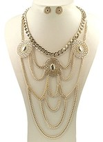 Gottex 18k Plated Chain Drapped Necklace & Drop Earrings Set.