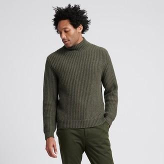 Naadam Wool Cashmere Ribbed Turtleneck Olive