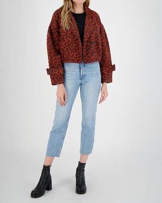 Express Bb Dakota Double Breasted Cropped Leopard Jacket