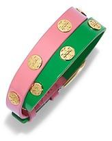 Tory Burch Color-Block Double-Wrap Logo Stud Bracelet
