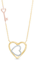 Zales Diamond-Cut Double Heart and Key Necklace in 14K Tri-Tone Gold - 17""
