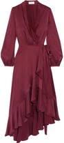 Zimmermann Asymmetric Washed-silk Wrap Midi Dress - Burgundy