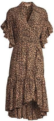 Michael Kors Belted Cheetah Silk Wrap Dress