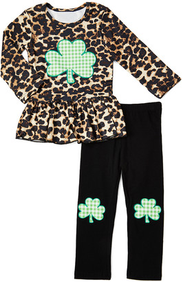 Royal Gem Girls' Casual Pants Brown - Brown & Green Leopard Shamrock Ruffle-Hem Tunic & Leggings - Newborn, Infant, Toddler & Girls