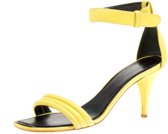 Celine Celiine Yellow Leather Ankle Strap Sandals Size 37