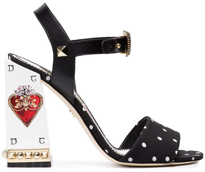 Dolce & Gabbana Black Cady Scared Heart 105 Sandals