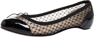Christian Louboutin Black Patent Leather and Mesh Miss Mix Bow Ballet Flats Size 37.5