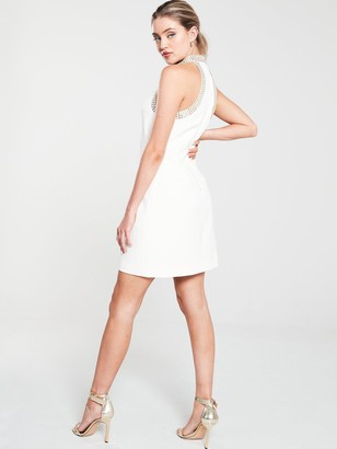 Karen Millen Chain Detail Mini Dress - Ivory