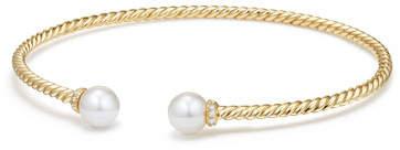 David Yurman Solari 18k Freshwater Pearl & Diamond Cuff Bracelet, Size M
