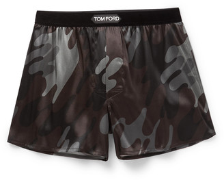 Tom Ford Camouflage-Print Stretch-Silk Boxer Shorts - Men - Brown