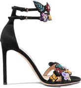 Valentino Embellished Suede Sandals - Black
