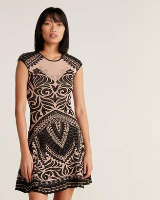 RVN Henna Pattern Flare Dress
