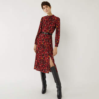 Warehouse FLORAL LEOPARD MIDI DRESS