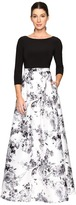 Adrianna Papell 3/4 Sleeve Jersey Print Mikado Gown