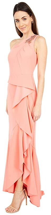 Thumbnail for your product : Adrianna Papell One Shoulder Pleated Crepe Gown with Beading