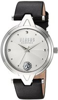 Versus By Versace Women's 'V' Quartz Stainless Steel and Leather Casual Watch, Color:Brown (Model: SCI070016)