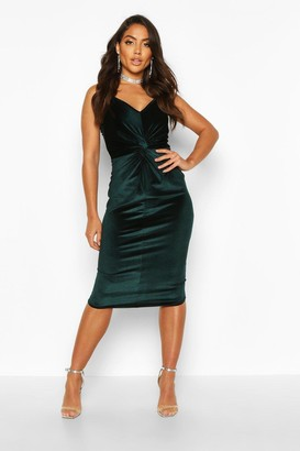 boohoo Velvet Twist Front Bodycon Midi Dress