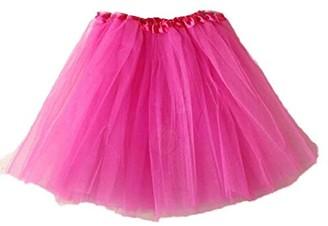 Andouy Fashion Women Ballet Tutu Dancing Layered Organza Lace Elastic Mini Skirt Party Dress Hot Pink