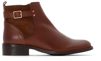 Cosmo Paris Fudo Leather Chelsea Ankle Boots with Buckle