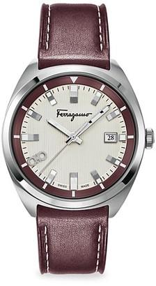 Salvatore Ferragamo Evolution Stainless Steel Leather Strap Watch