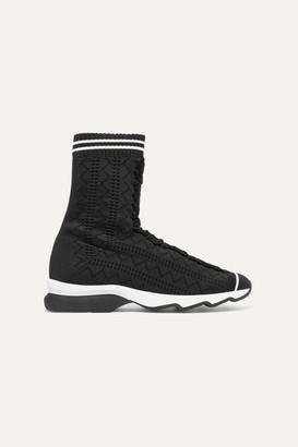 Fendi Stretch-knit Sneakers - Black