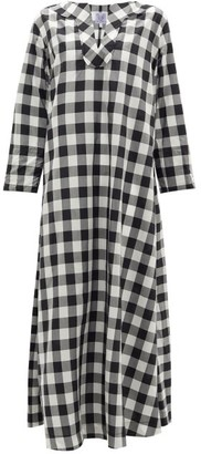 Thierry Colson Samia Sailor-collar Cotton-blend Gingham Dress - Black White