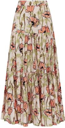Tory Burch Tiered Floral Skirt