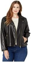 Calvin Klein Plus Plus Size Moto Jacket with Stud Sleeve (Black) Women's Coat