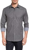 Bugatchi Men's Shaped Fit Diamond Stripe Jacquard Sport Shirt