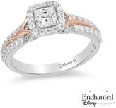 Zales Enchanted Disney Aurora 3/4 CT. T.W. Princess-Cut Diamond Frame Engagement Ring in 14K Two-Tone Gold