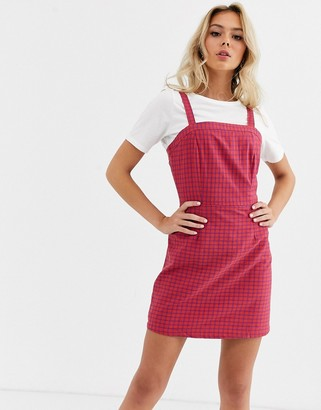 Glamorous pinafore dress in check print