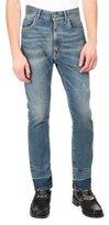Maison Margiela Stretch Denim Straight-Leg Jeans with Released Hem, Light Blue