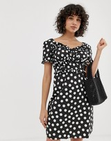 Lost Ink Dress with Frill Detail in Polka Dot